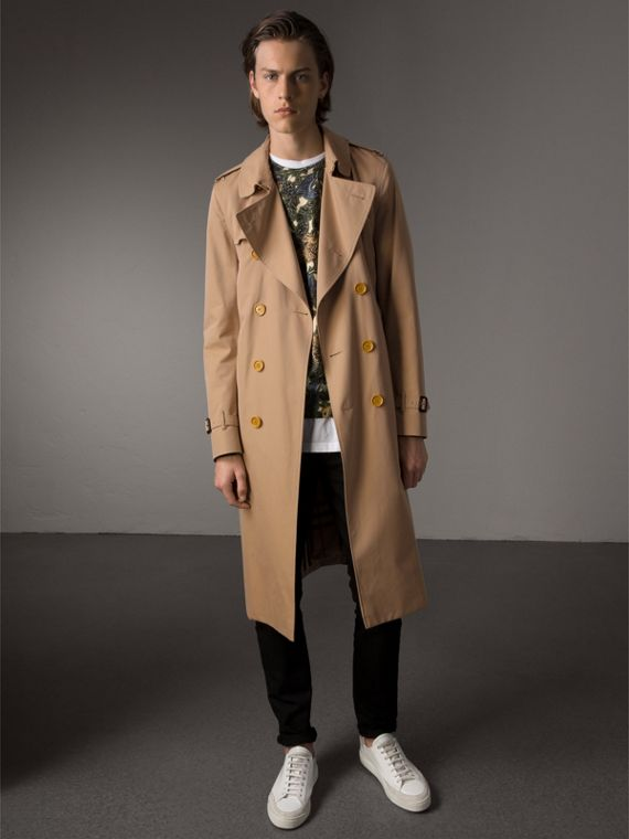 Extra-long Resin Button Cotton Gabardine Trench Coat in Honey - Men | Burberry Australia