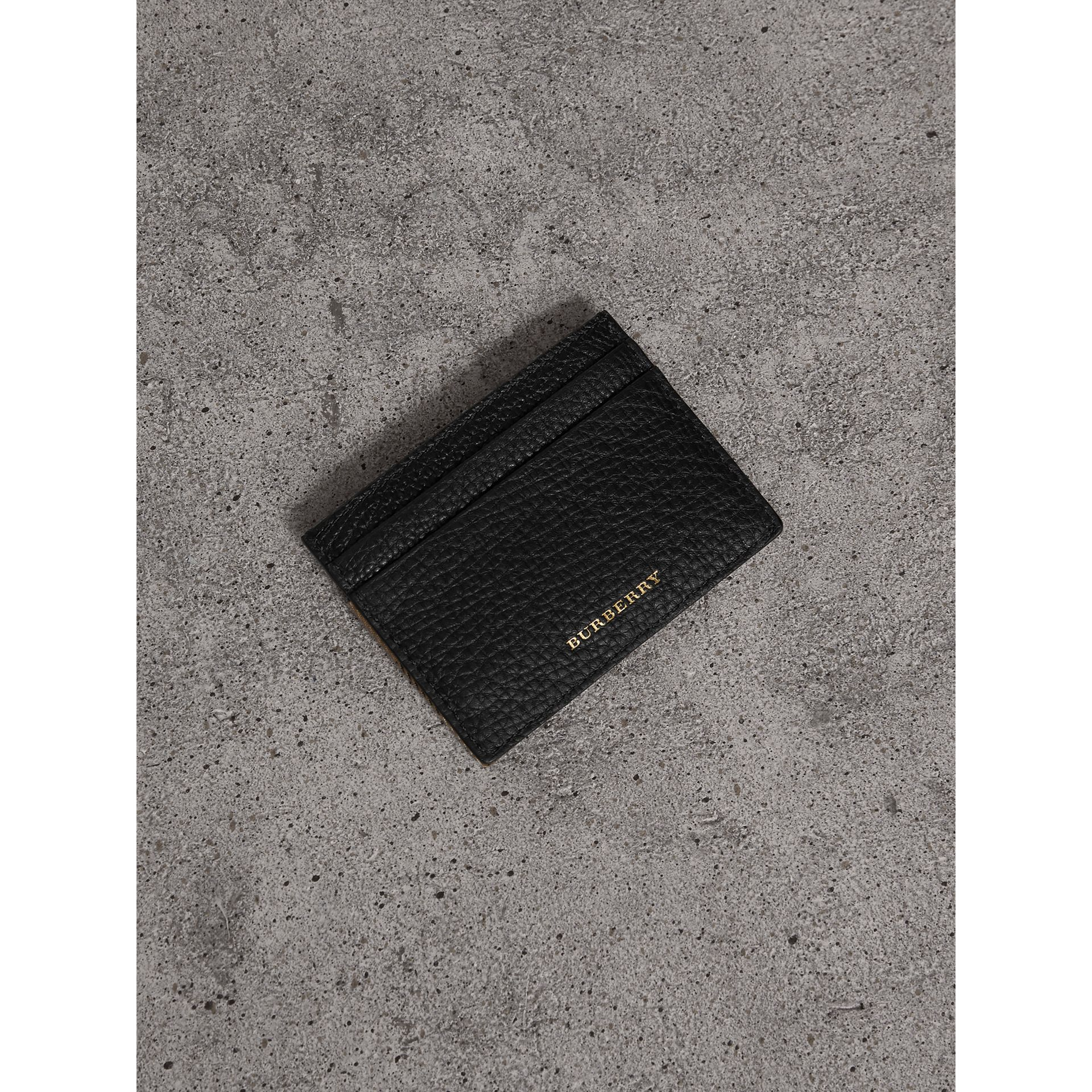 House Check and Grainy Leather Card Case in Black | Burberry United Kingdom - gallery image 0