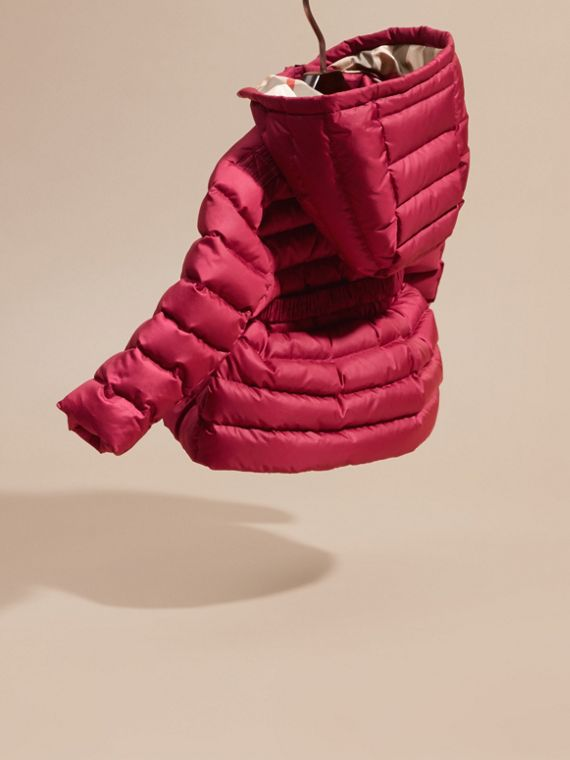 Dark plum pink Bow Detail Puffer Jacket - cell image 3