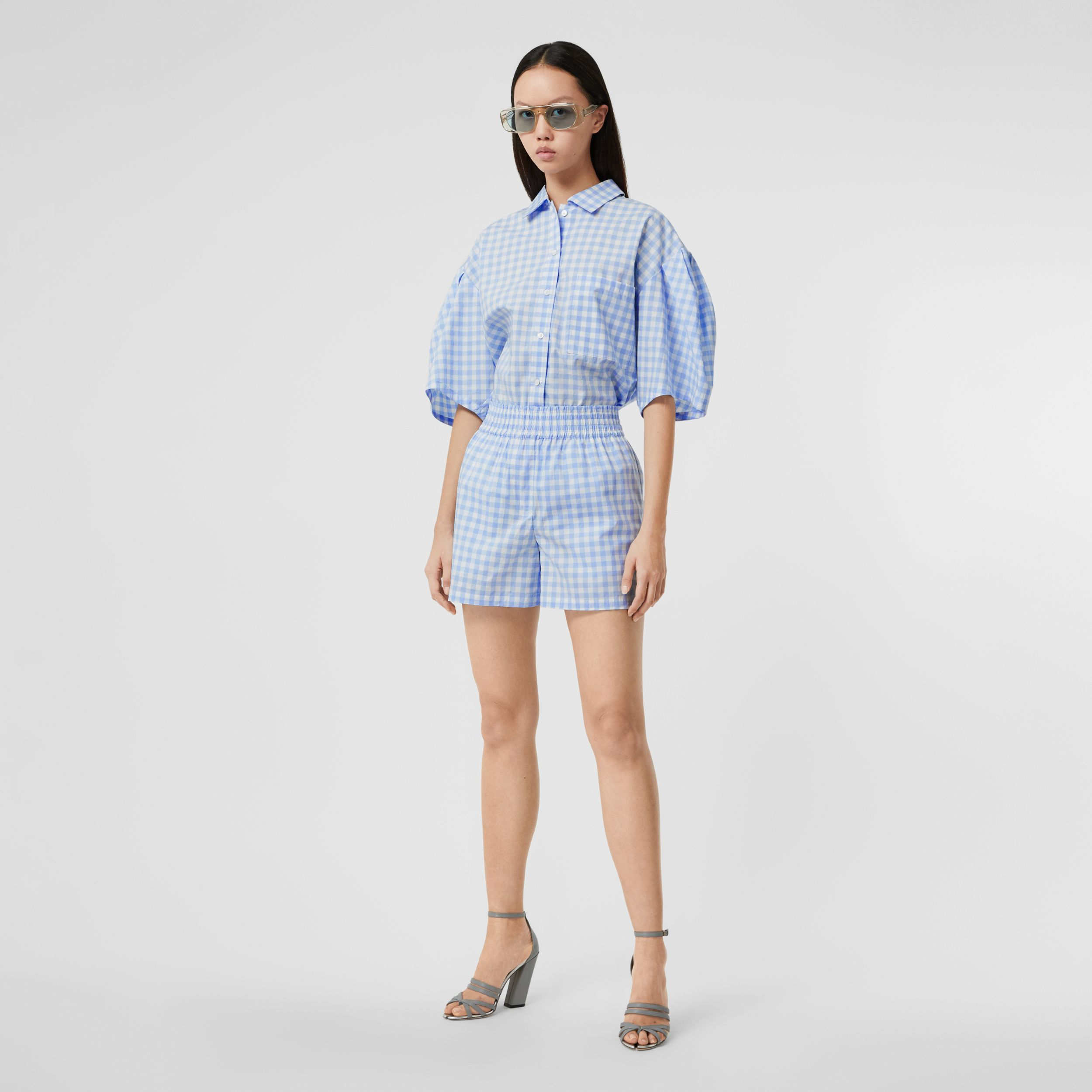 Gingham Cotton Shorts in Pale Blue - Women | Burberry - 1