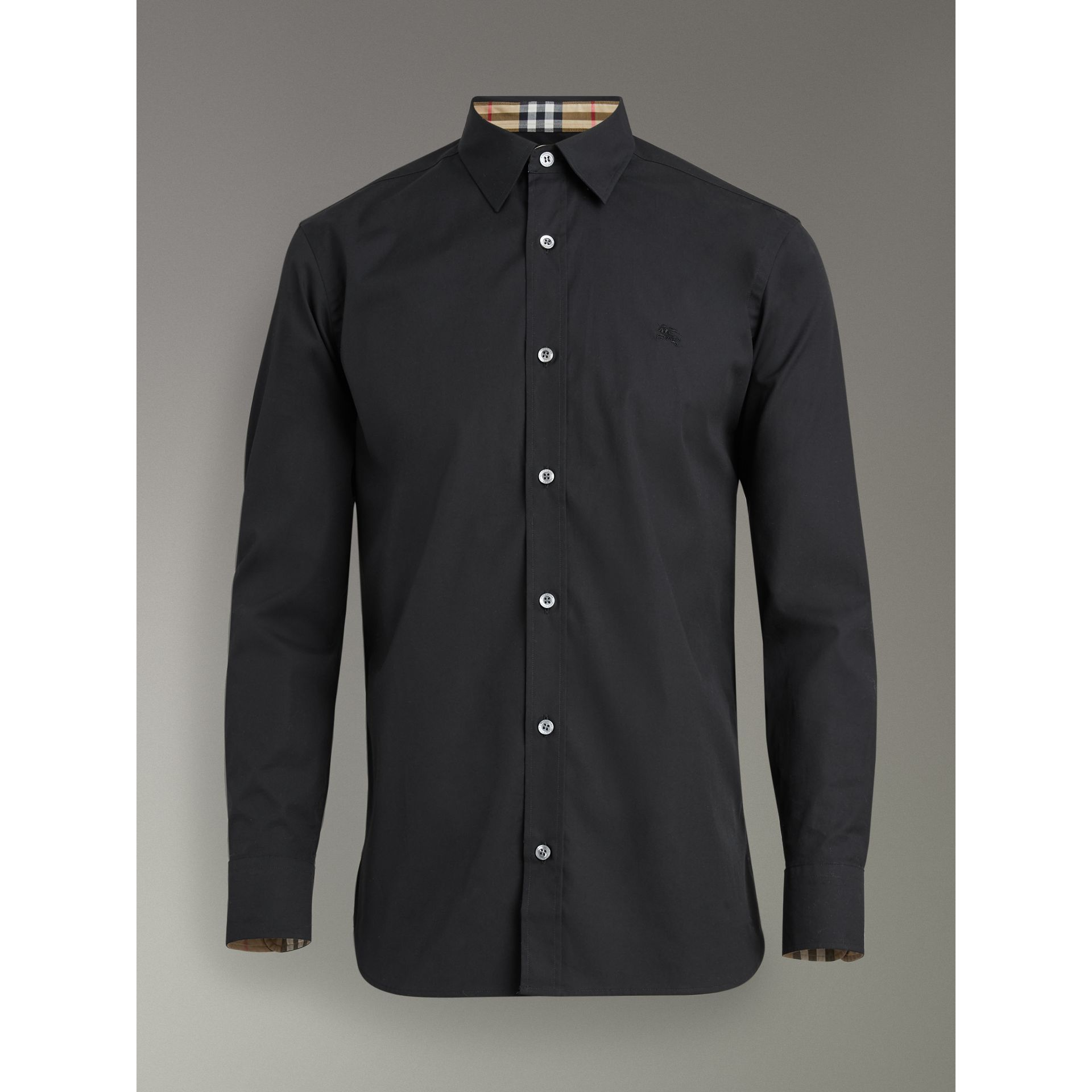 Check Cuff Stretch Cotton Poplin Shirt in Black - Men | Burberry - gallery image 3