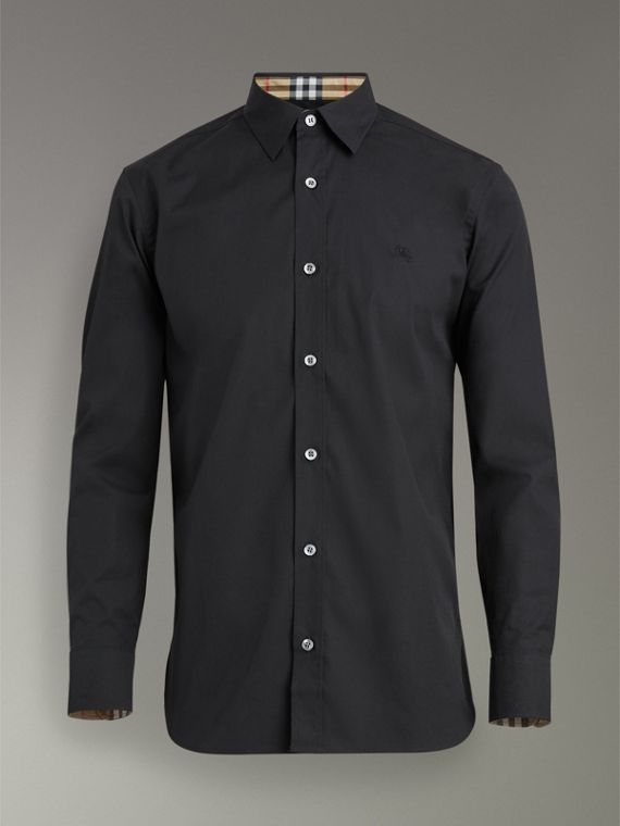 Check Cuff Stretch Cotton Poplin Shirt in Black - Men | Burberry - cell image 3