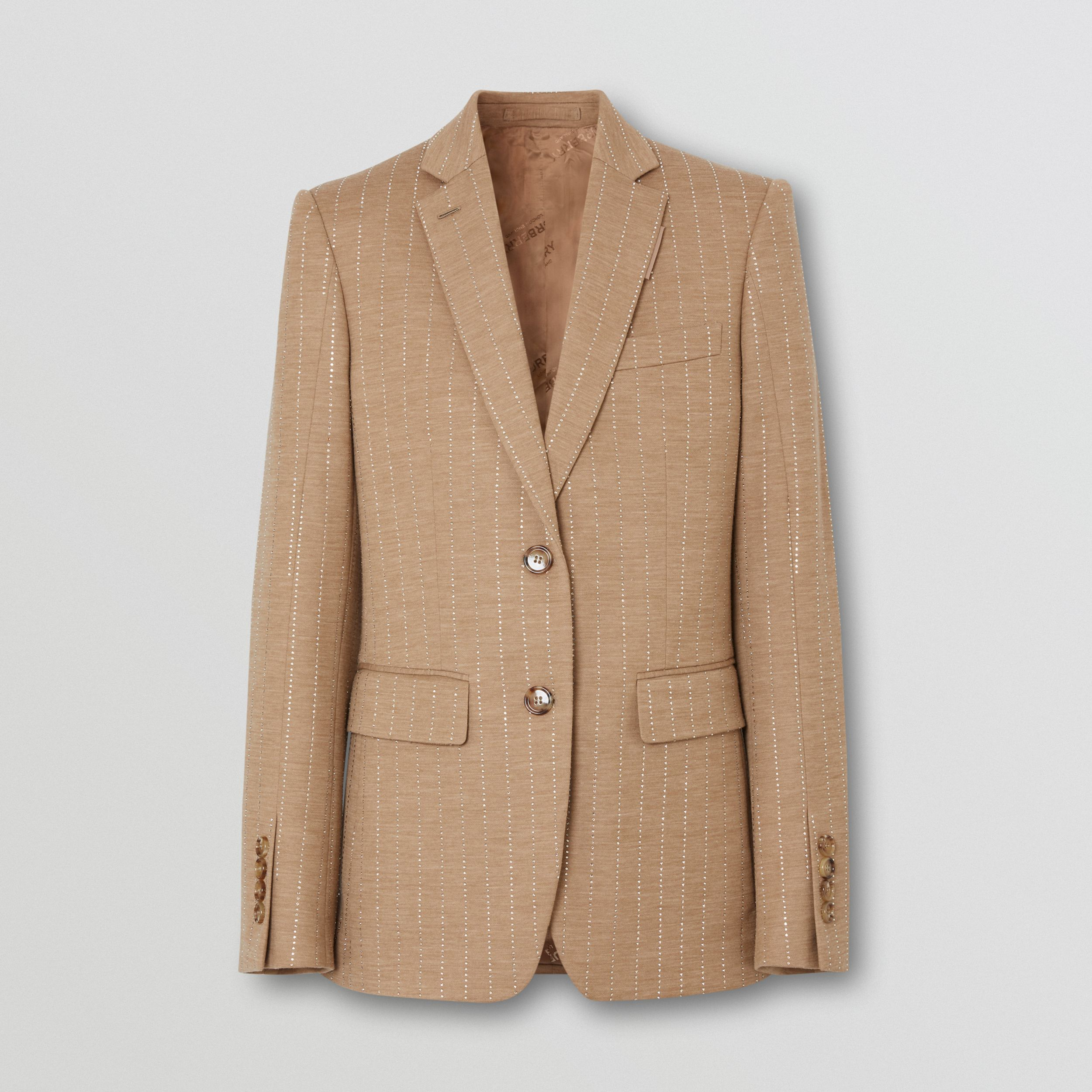 Crystal Pinstriped Technical Wool Jersey Blazer in Pecan Melange - Women | Burberry - 4