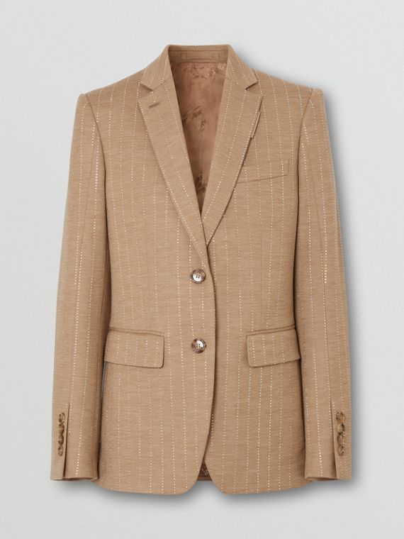 Crystal Pinstriped Technical Wool Jersey Blazer in Pecan Melange