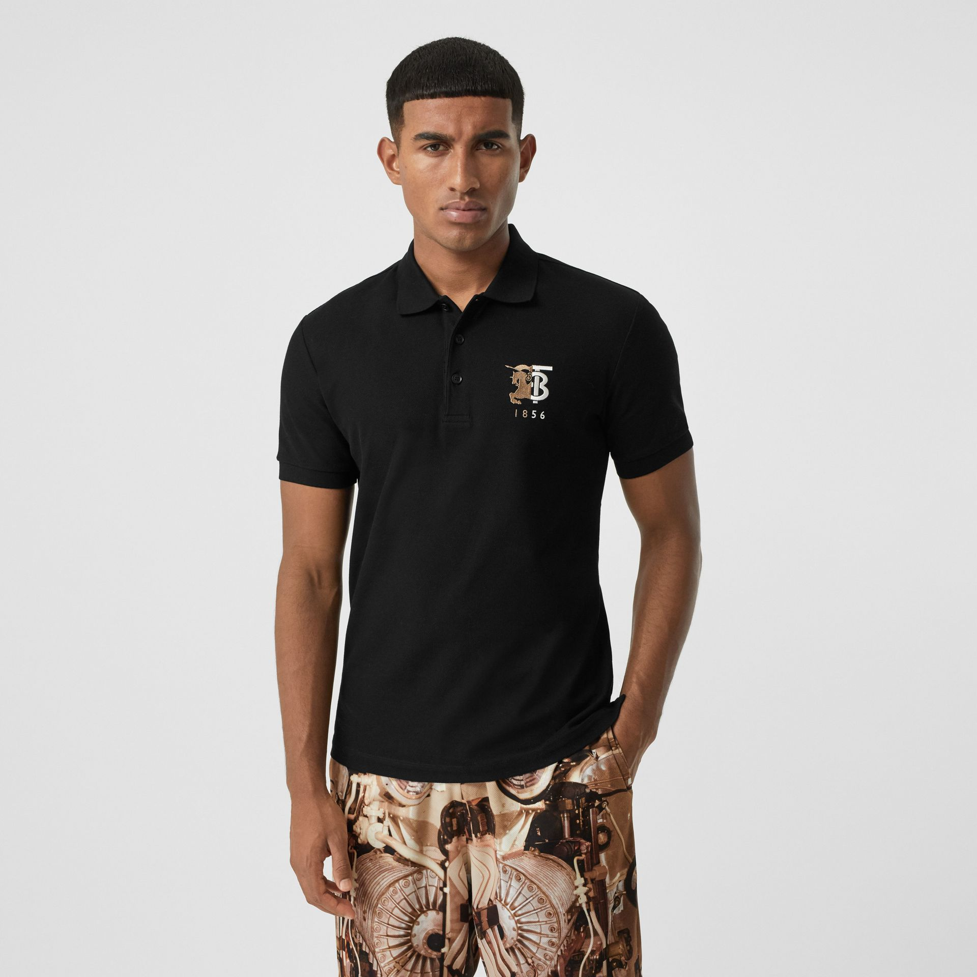Contrast Logo Graphic Cotton Piqué Polo Shirt in Black - Men   Burberry - gallery image 4