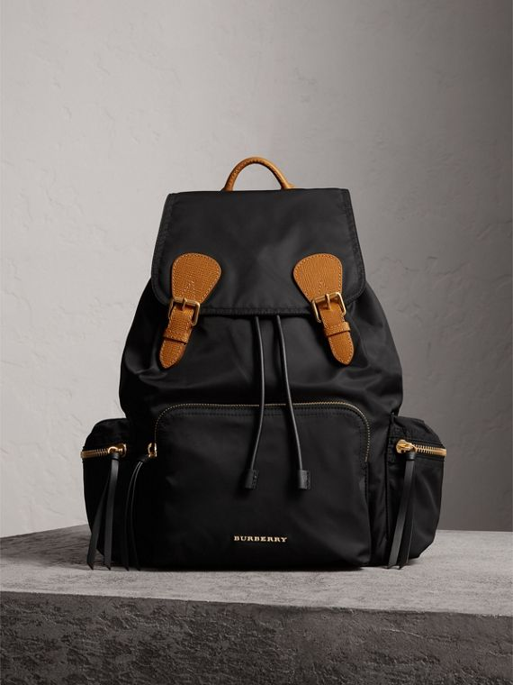 The Large Rucksack in Technical Nylon and Leather in Black - Women | Burberry Australia