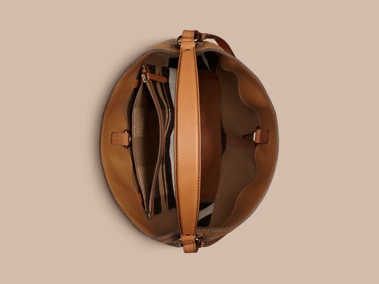 Saddle brown The Medium Ashby in Canvas Check and Leather Saddle Brown - cell image 4