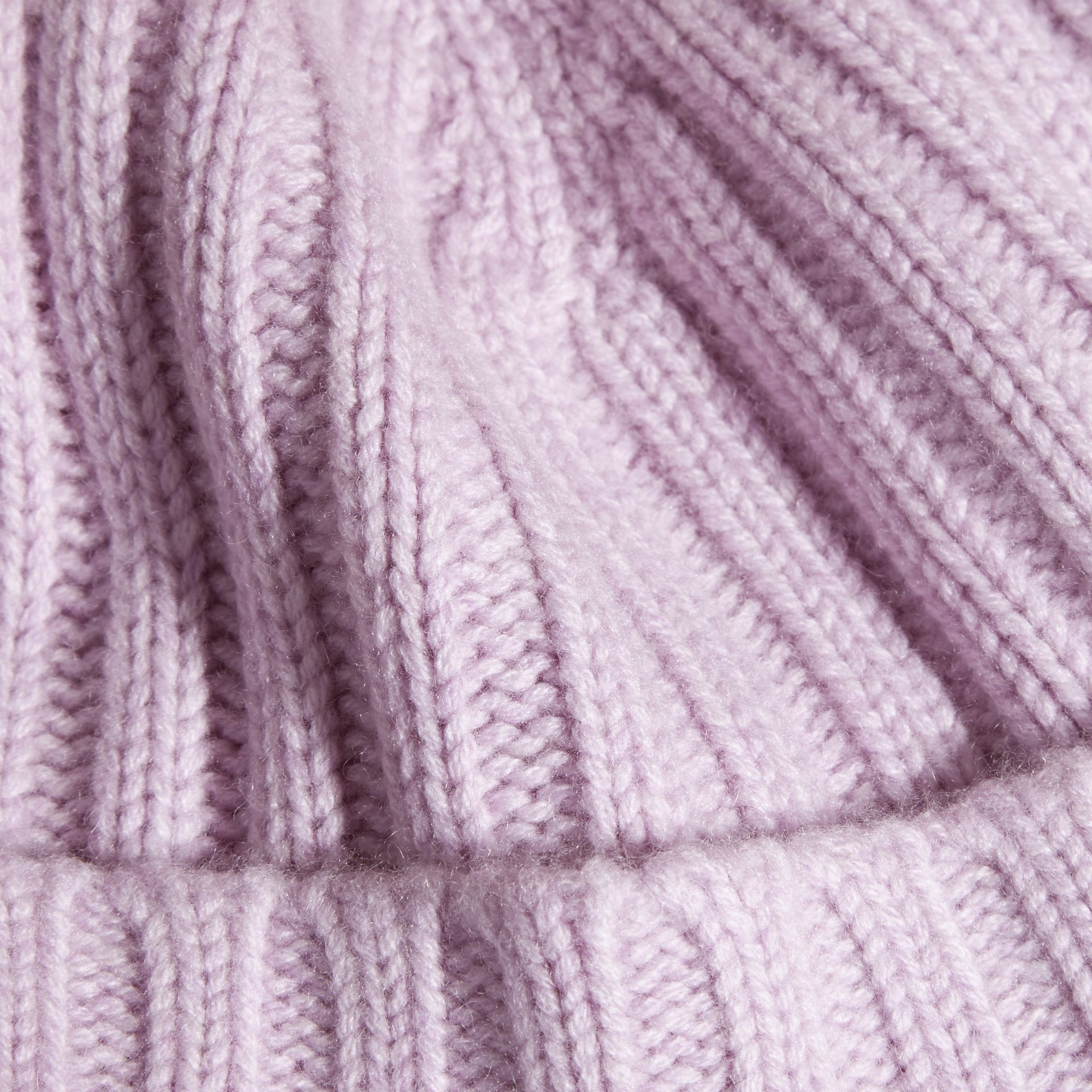 Ribbed Knit Wool Cashmere Beanie in Dusty Lilac - Women | Burberry - gallery image 2