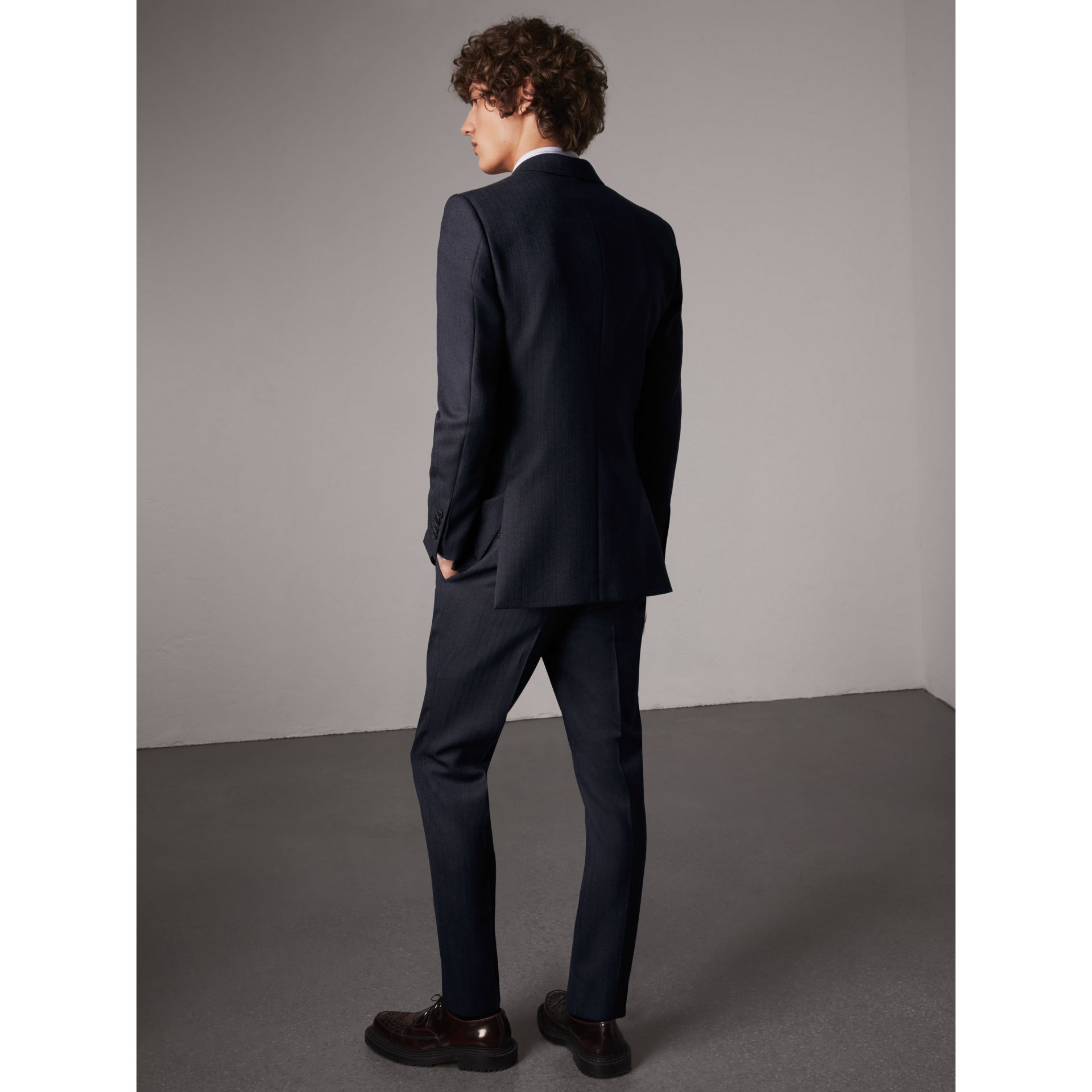 Slim Fit Double-breasted Herringbone Wool Suit in Ink Blue - Men | Burberry - gallery image 3