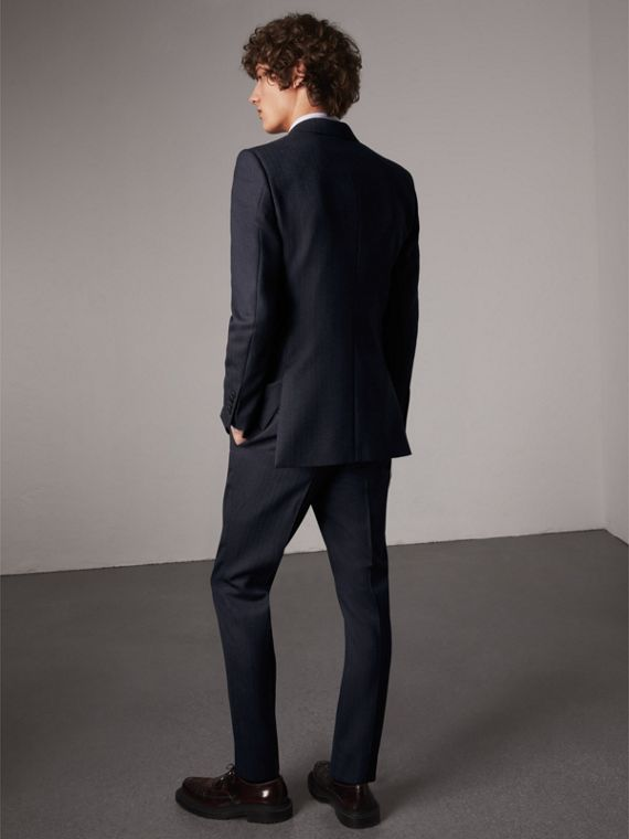 Slim Fit Double-breasted Herringbone Wool Suit in Ink Blue - Men | Burberry Canada - cell image 2