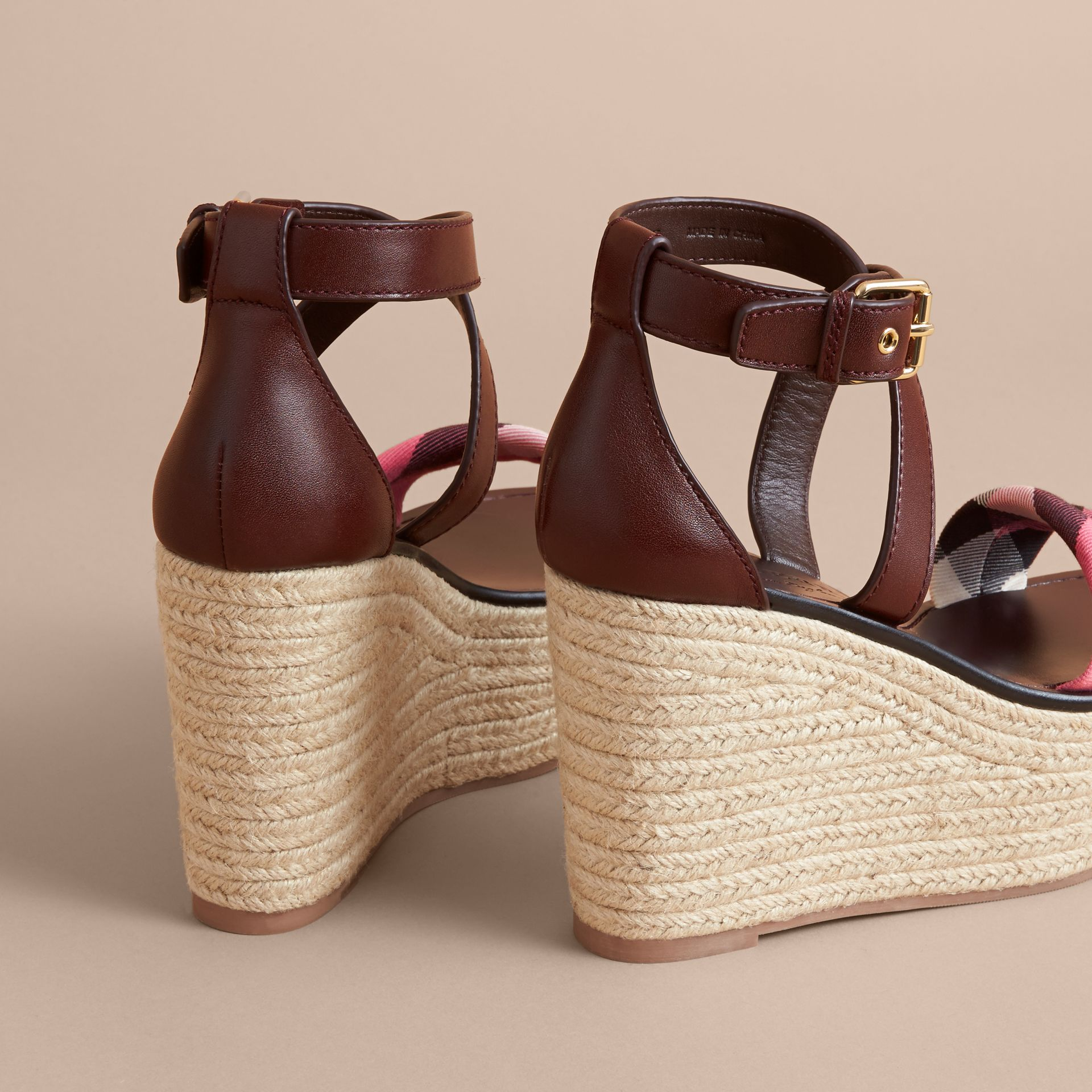 Leather and House Check Platform Espadrille Wedge Sandals in Cerise Purple - Women | Burberry - gallery image 5