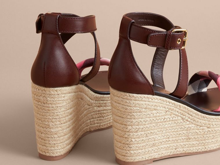 Leather and House Check Platform Espadrille Wedge Sandals in Cerise Purple - cell image 4