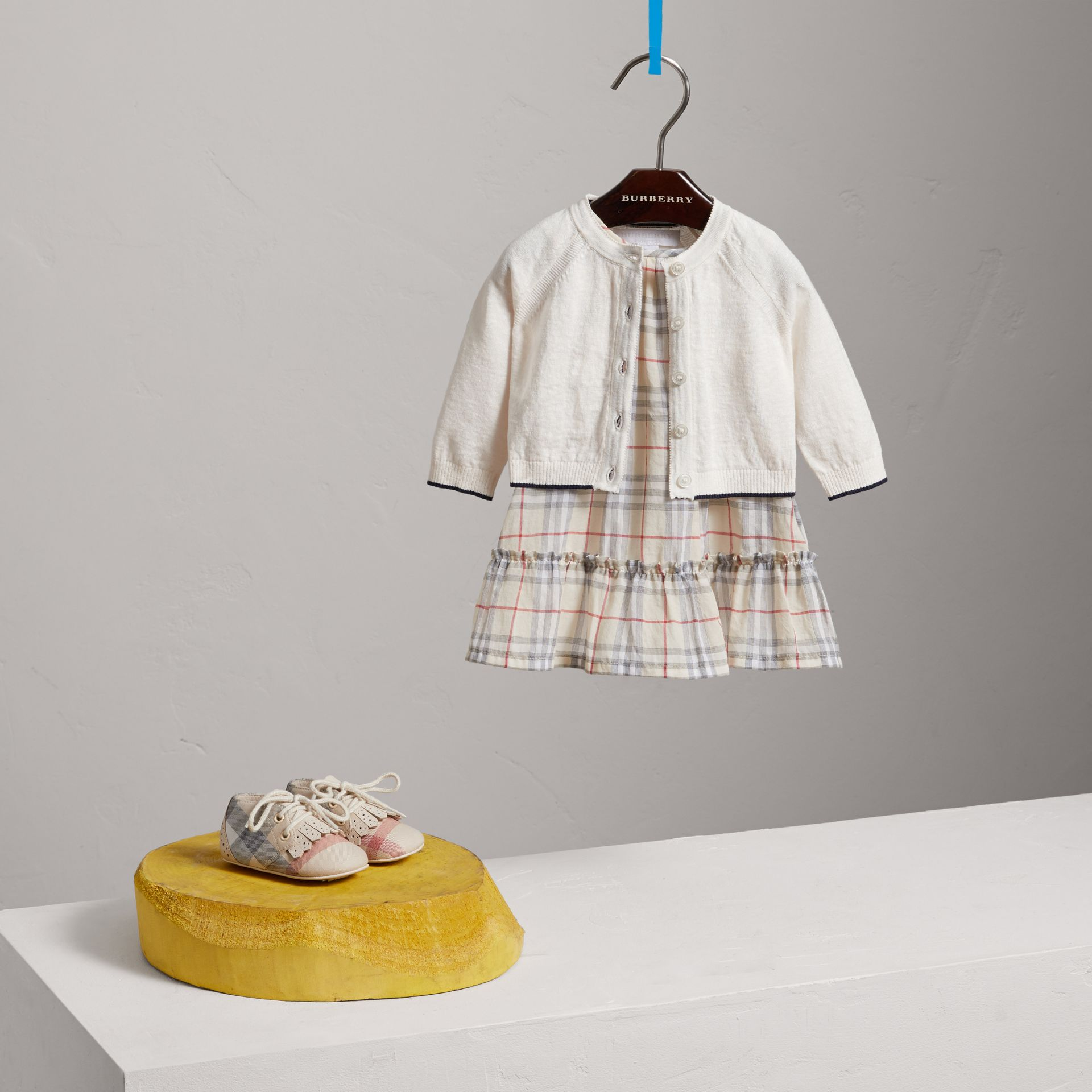 Rib Detail Linen Cotton Cardigan in White - Children | Burberry - gallery image 2