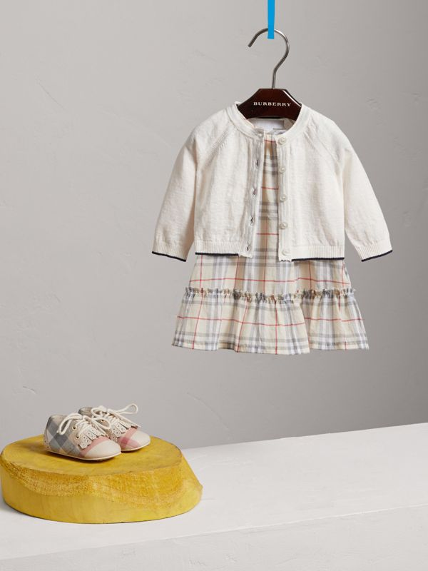 Rib Detail Linen Cotton Cardigan in White - Children | Burberry - cell image 2