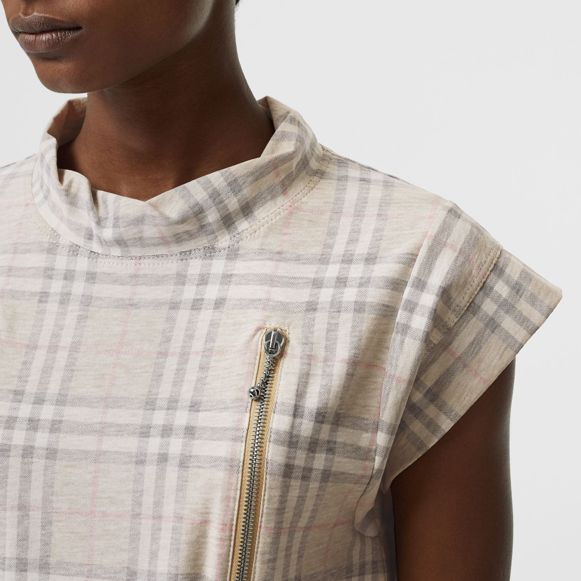 Zip Detail Vintage Check Cotton T-shirt in Antique Yellow | Burberry - gallery image 1