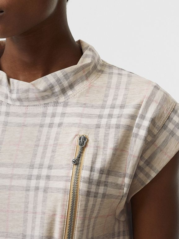 Zip Detail Vintage Check Cotton T-shirt in Antique Yellow - Women | Burberry - cell image 1