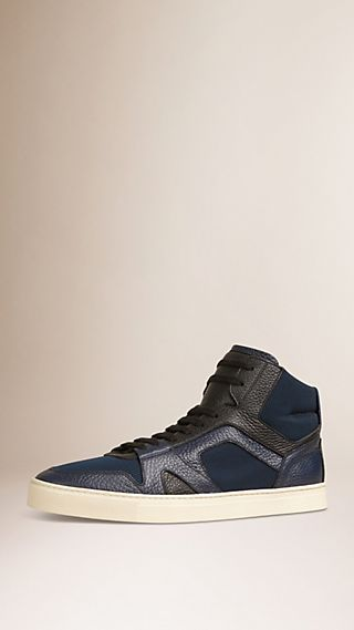 Leather and Mesh High-top Trainers