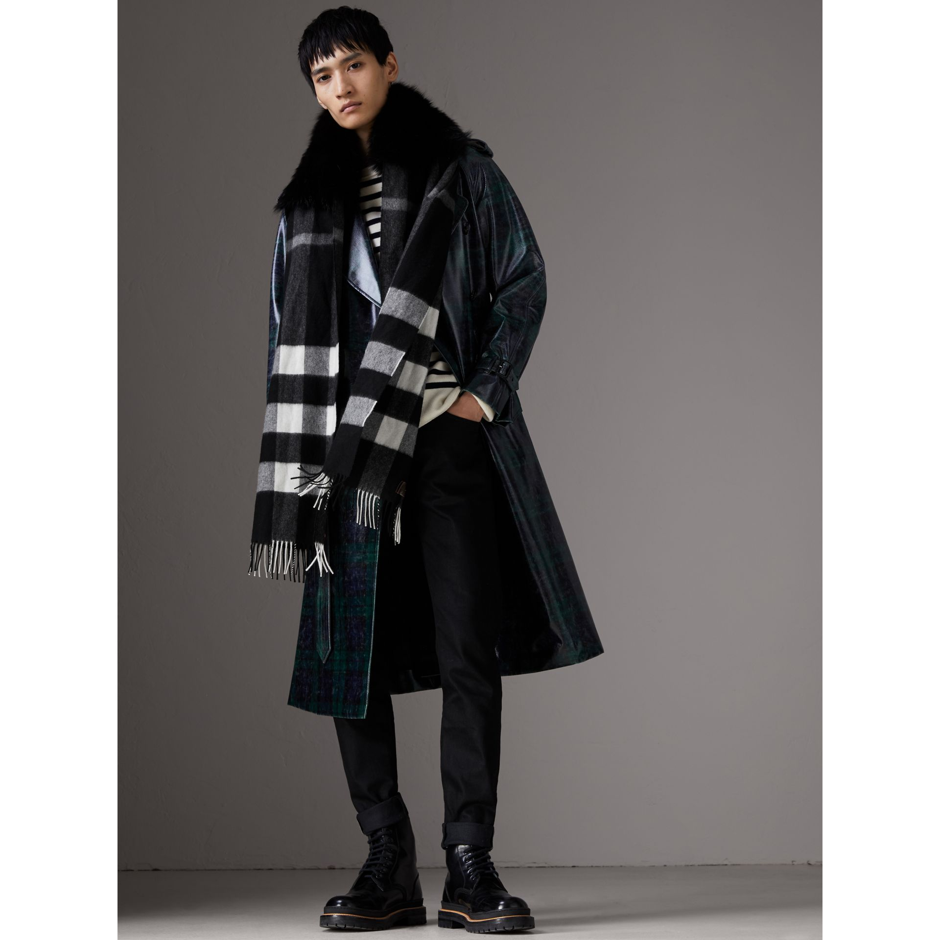 Fox Fur Trim Check Cashmere Scarf in Black/black - Women | Burberry Australia - gallery image 4