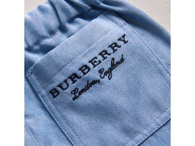 Pull-on Chambray Trousers in Steel Blue | Burberry - cell image 1