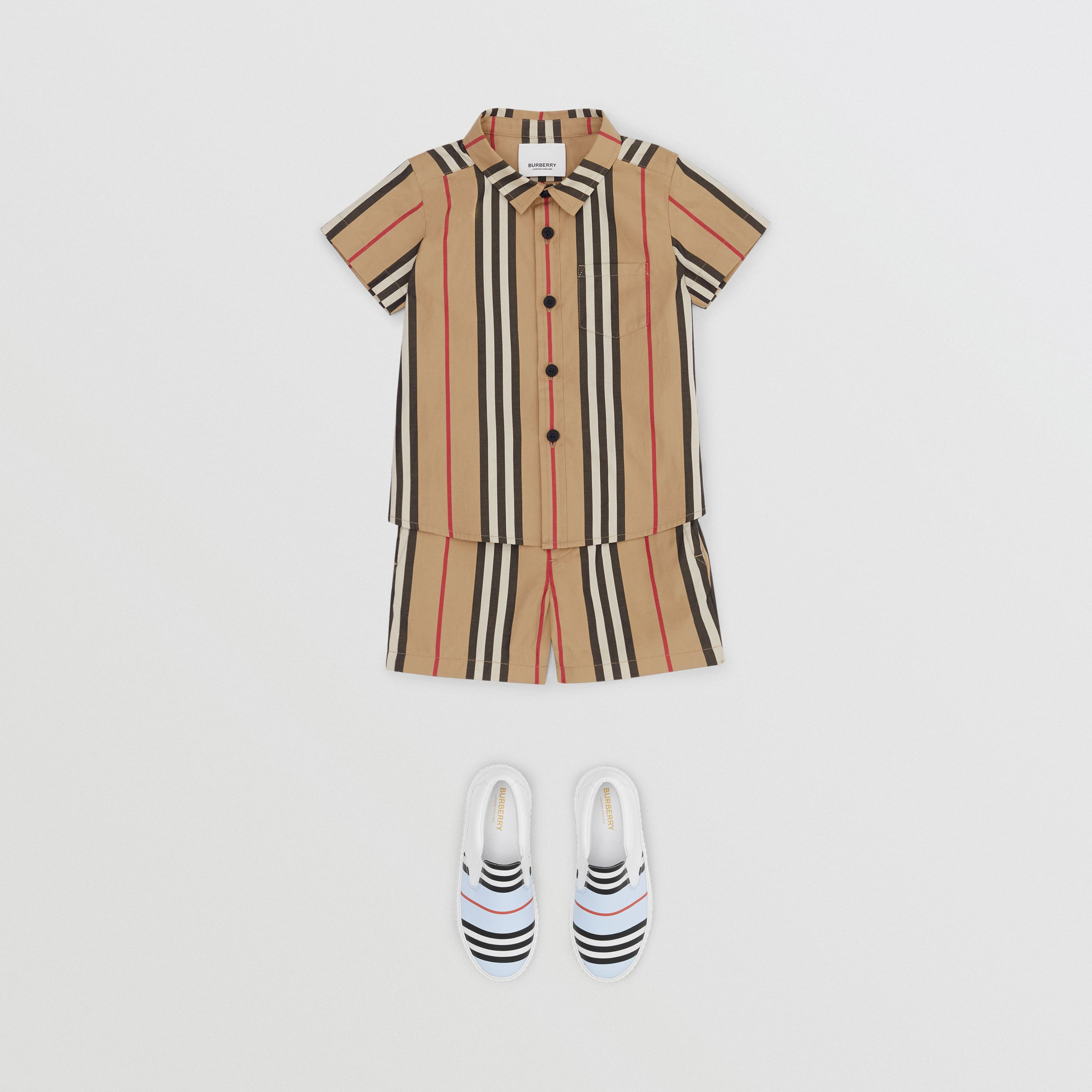 Icon Stripe Cotton Chino Shorts in Archive Beige - Children | Burberry - 3