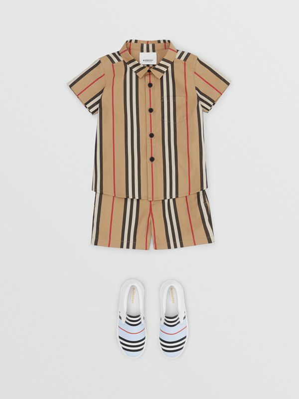 Icon Stripe Cotton Chino Shorts in Archive Beige - Children | Burberry - cell image 2