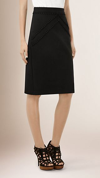 Lace Trim Wool Cashmere Blend Skirt