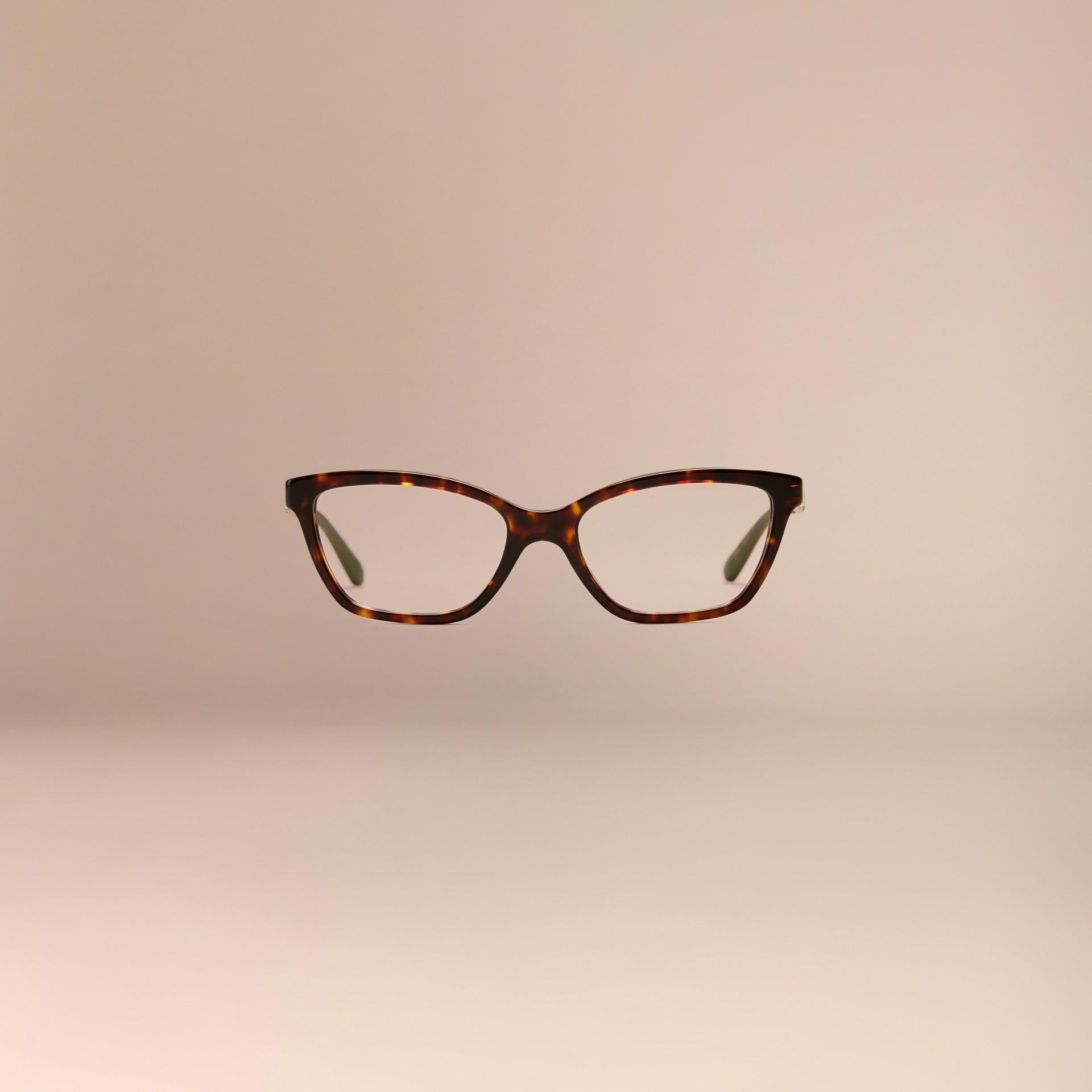 Écaille de tortue Monture œil de chat pour lunettes de vue à motif check Écaille  Tortue - photo de la galerie 3