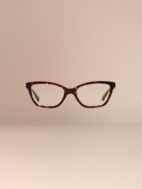 Écaille de tortue Monture œil de chat pour lunettes de vue à motif check Écaille  Tortue - cell image 2