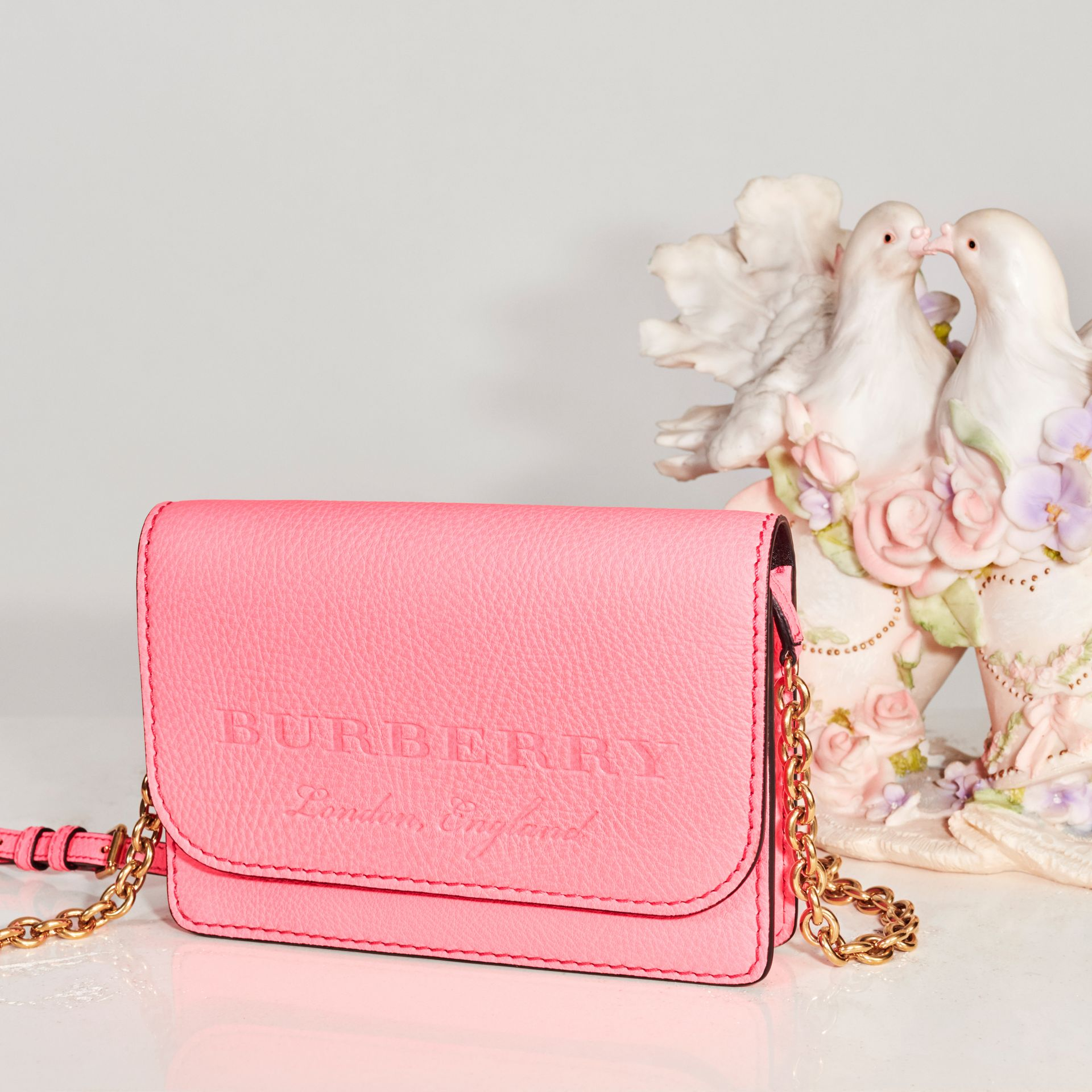 Embossed Leather Wallet with Detachable Strap in Bright Pink - Women | Burberry - gallery image 7