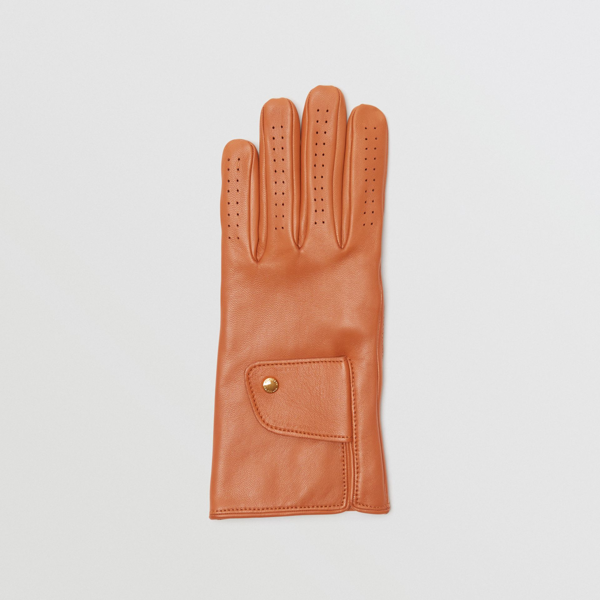 Cashmere-lined Lambskin Gloves in Tan | Burberry Singapore - gallery image 2