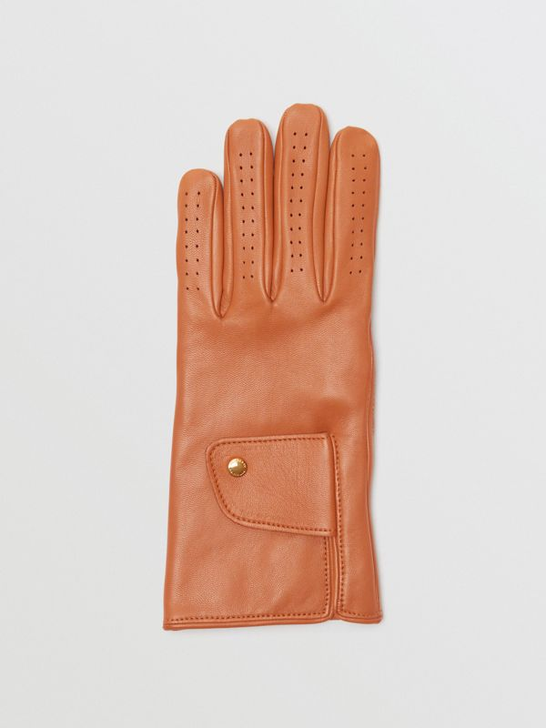 Cashmere-lined Lambskin Gloves in Tan | Burberry - cell image 2