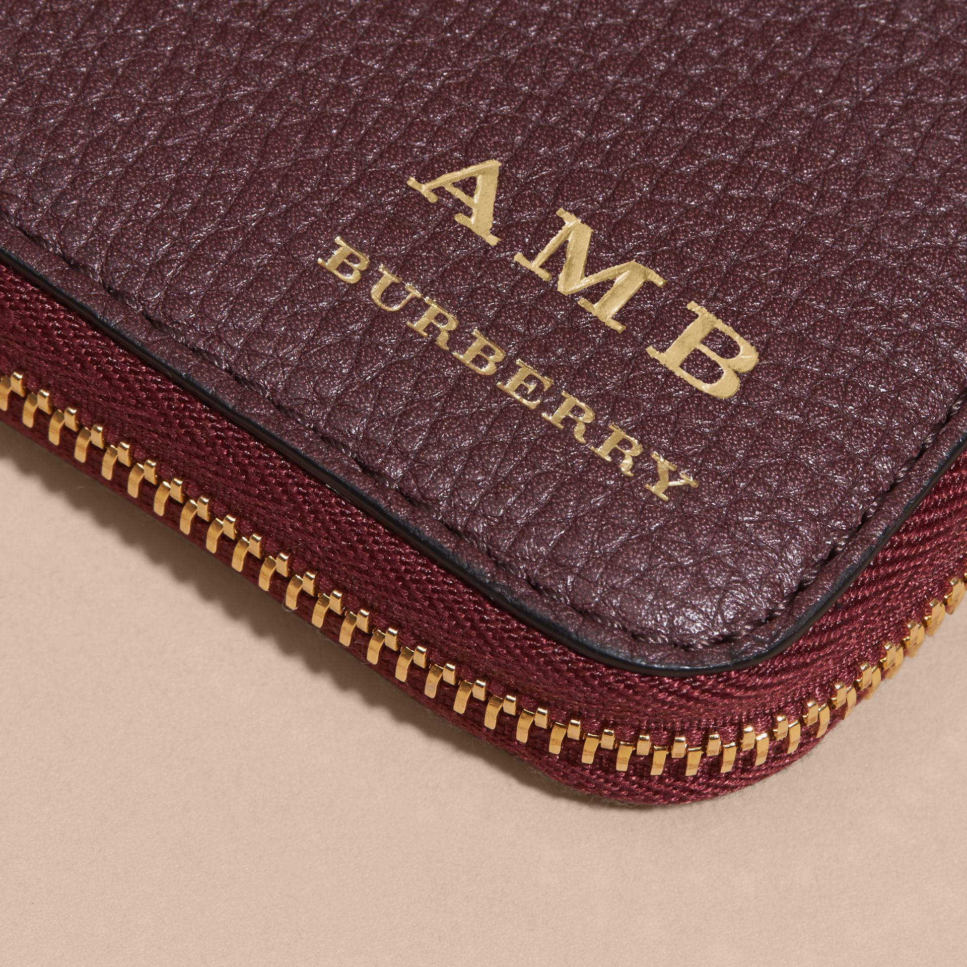 House Check and Grainy Leather Ziparound Wallet in Wine - gallery image 7