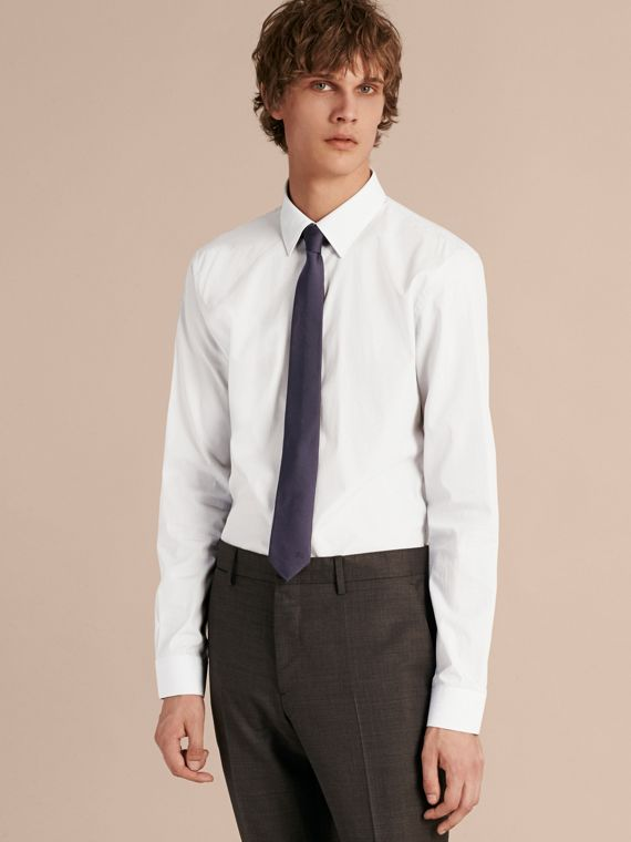 Slim Cut Silk Twill Tie in Navy - Men | Burberry - cell image 2