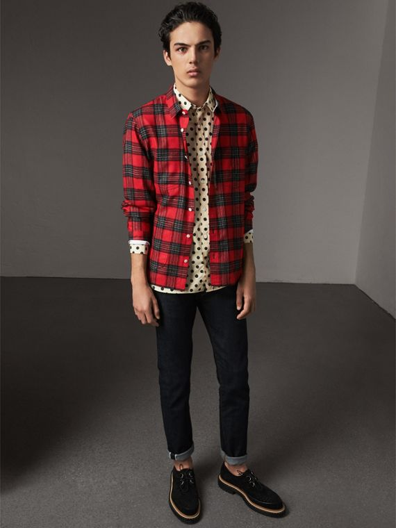 Polka-dot Cotton Shirt in Navy - Men | Burberry United Kingdom - cell image 3