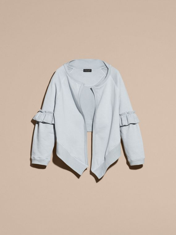 Powder blue Cotton Blend Sweatshirt Jacket with Ruffle Sleeves Powder Blue - cell image 3