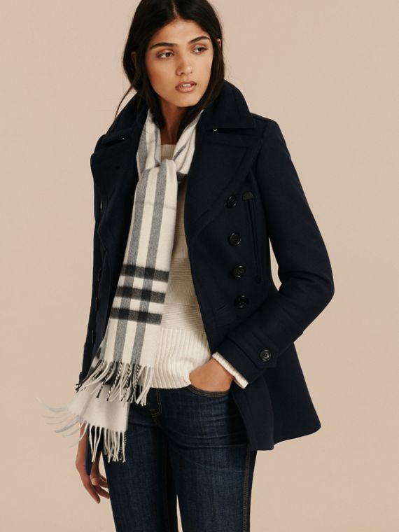 Natural white check The Classic Cashmere Scarf in Check Natural White - cell image 2