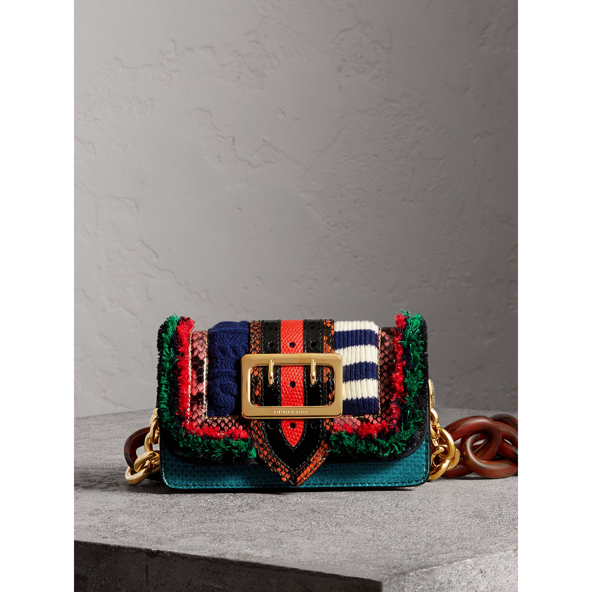 Sac The Patchwork en cuir exotique et maille de laine (Multicolore) - Femme | Burberry - photo de la galerie 0