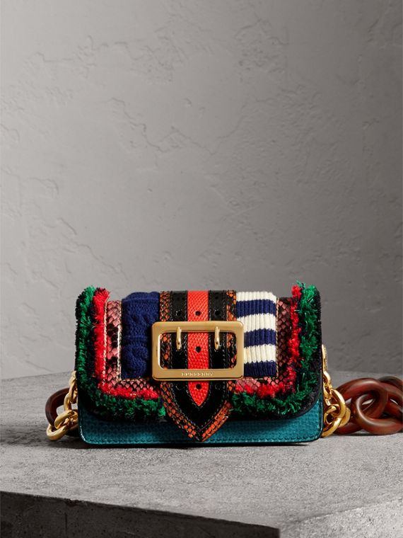 Sac The Patchwork en cuir exotique et maille de laine (Multicolore)