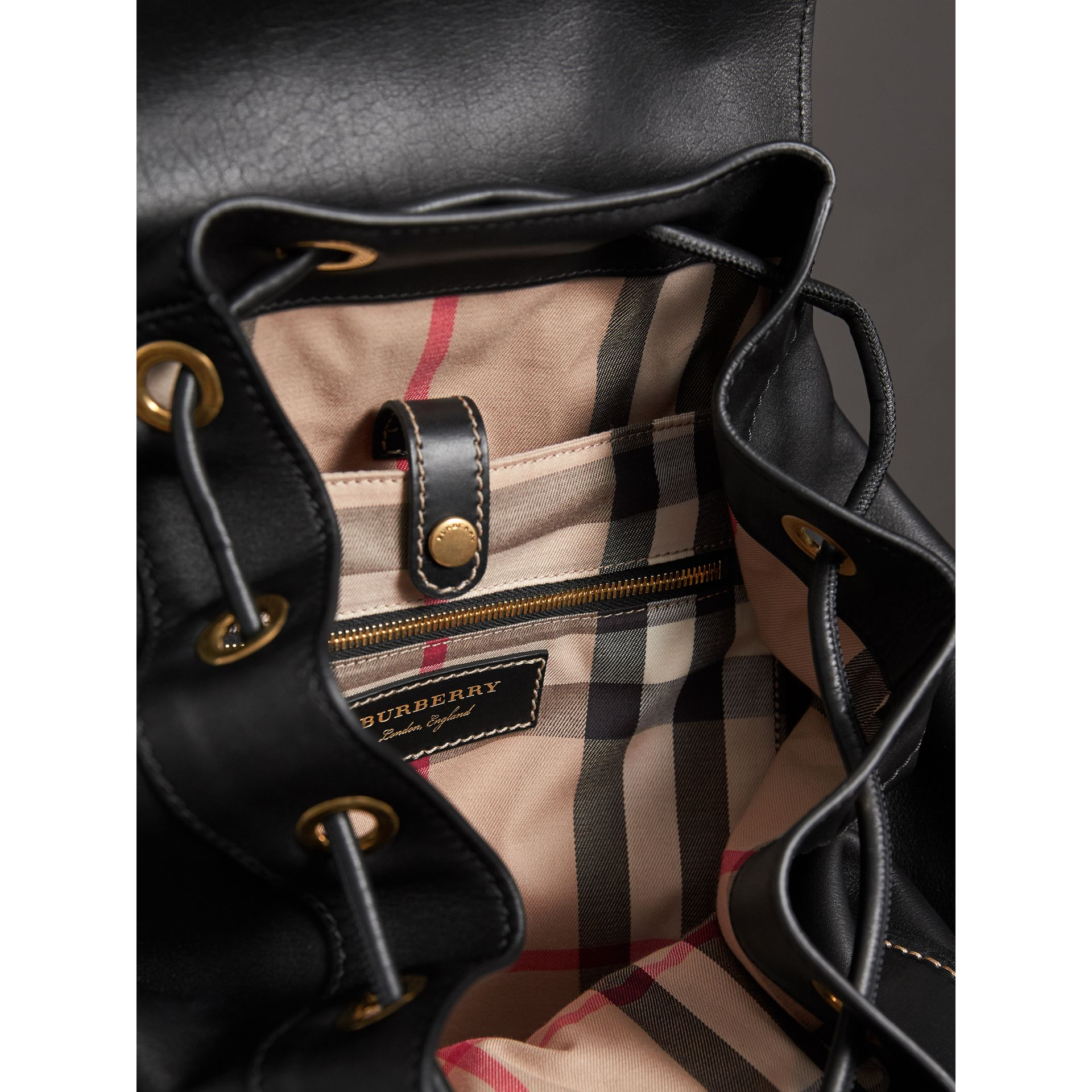 The Large Rucksack in Topstitched Leather in Black | Burberry - gallery image 5