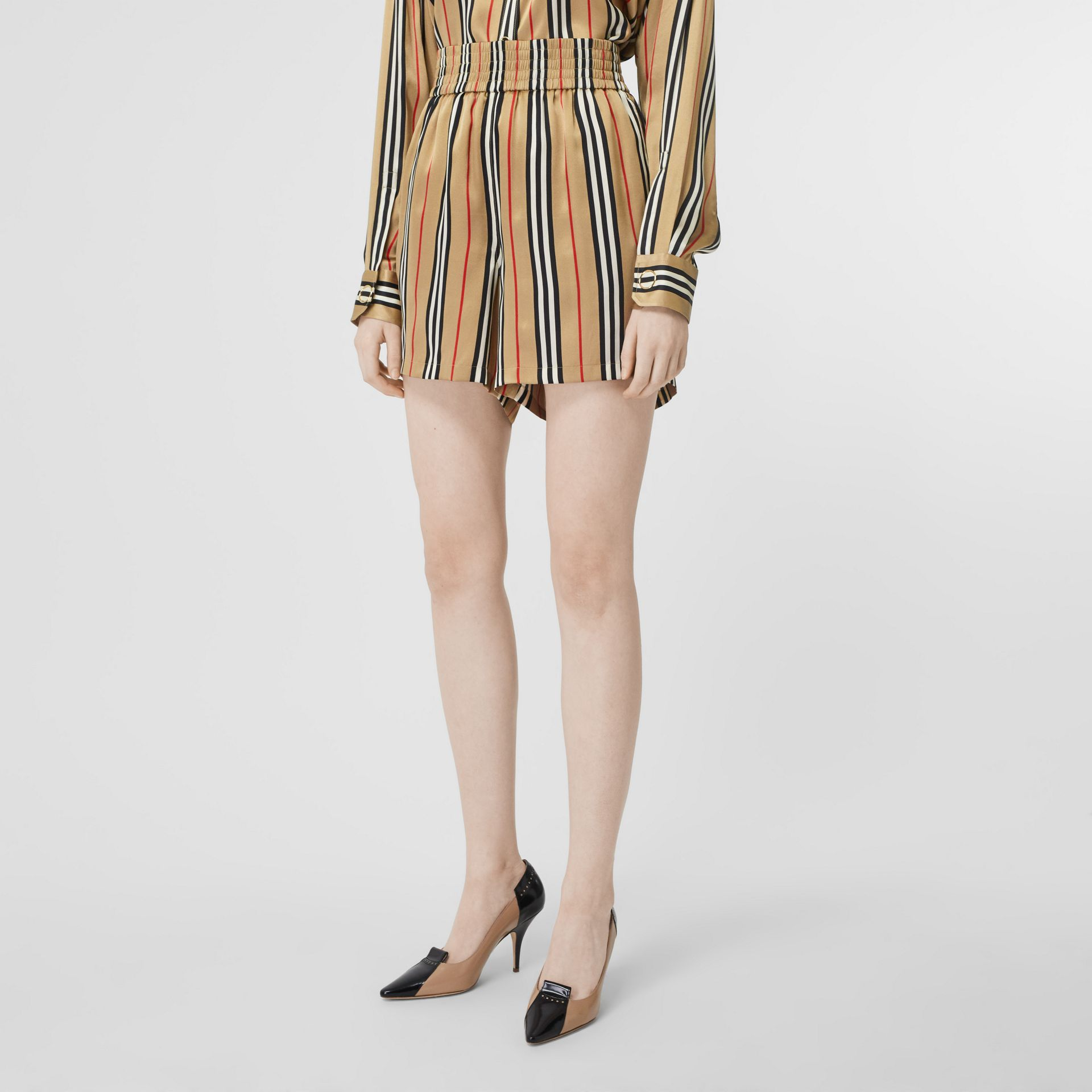 Icon Stripe Silk Shorts in Archive Beige - Women | Burberry Canada - gallery image 4