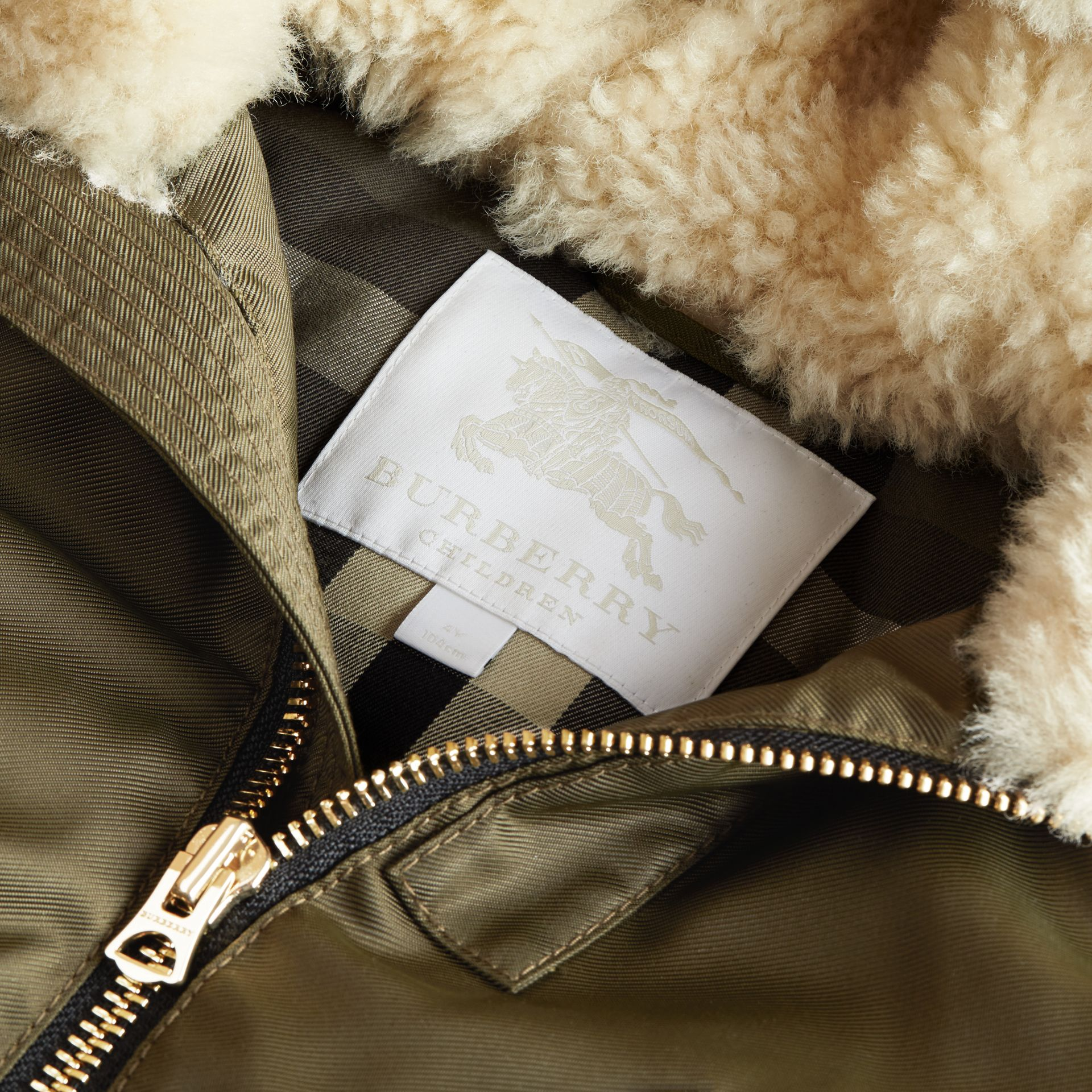 Detachable Raccoon Fur Trim Hood Bomber Jacket in Caper Green - Boy | Burberry - gallery image 5