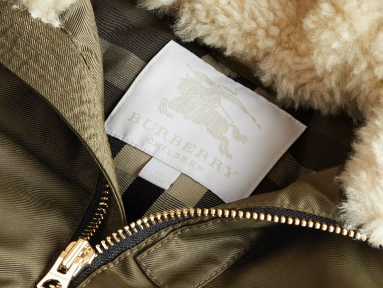 Detachable Raccoon Fur Trim Hood Bomber Jacket in Caper Green - Boy | Burberry - cell image 4