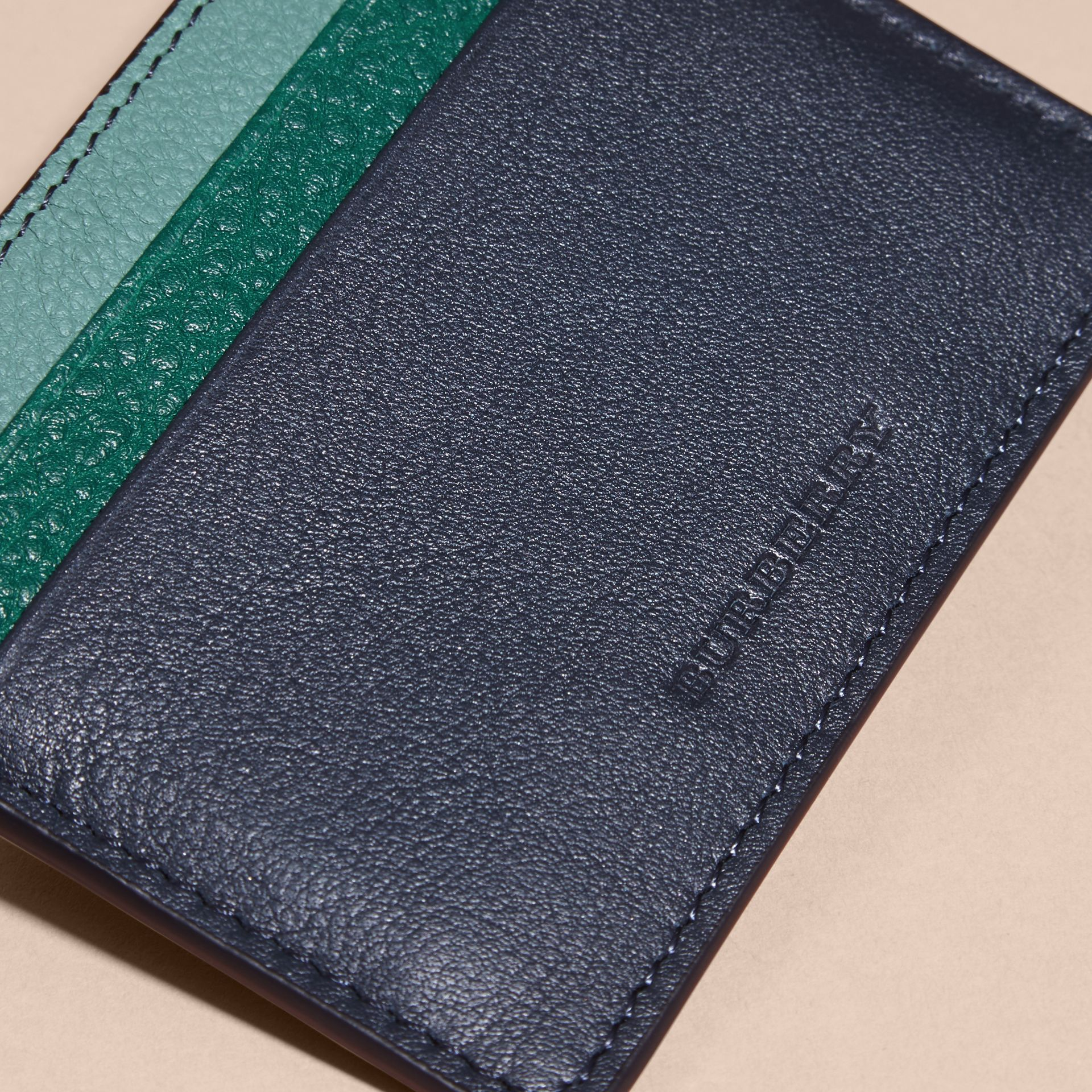 Colour Block Leather Card Case in Blue Carbon - gallery image 2