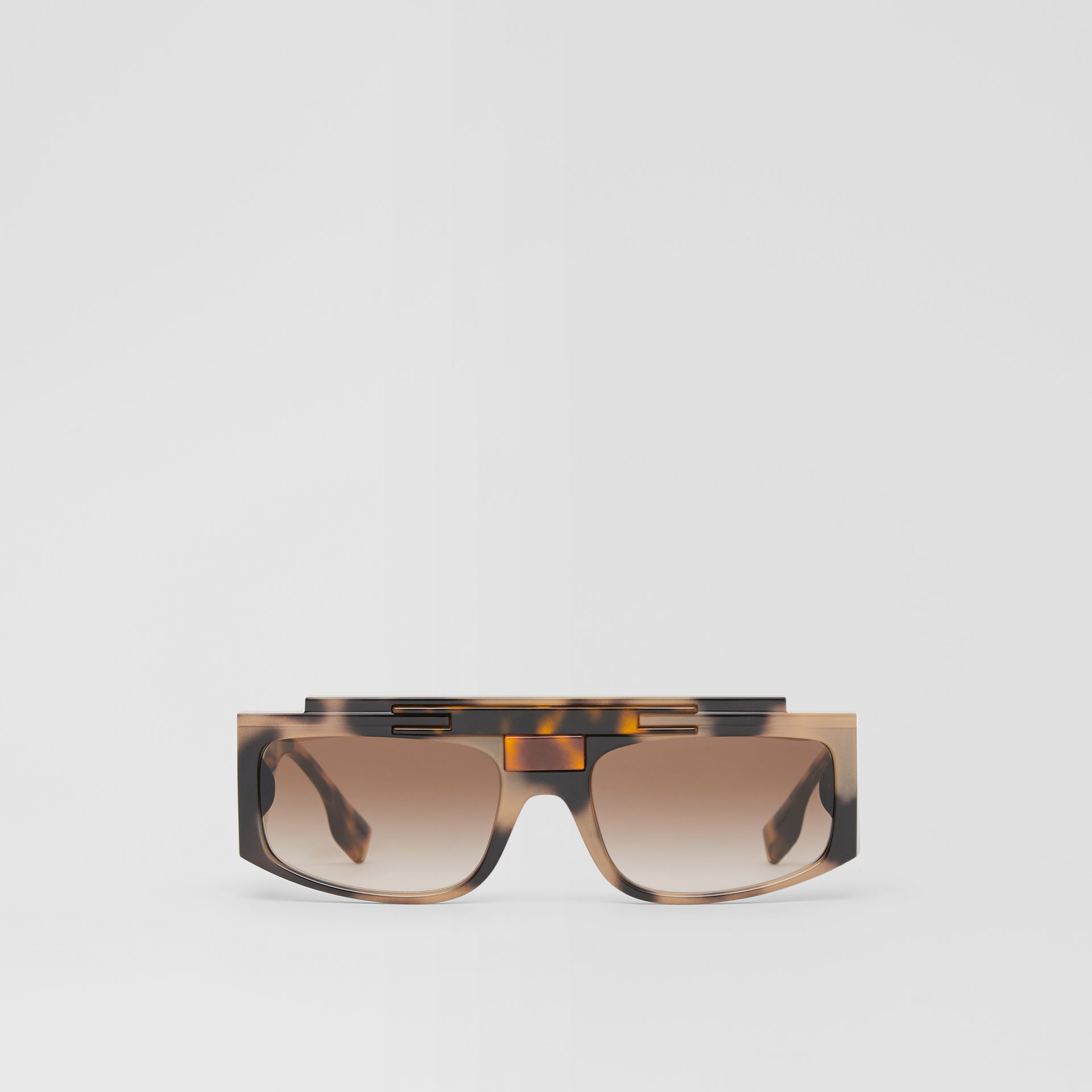 Rectangular Frame Sunglasses in Tortoiseshell - Women | Burberry - gallery image 0