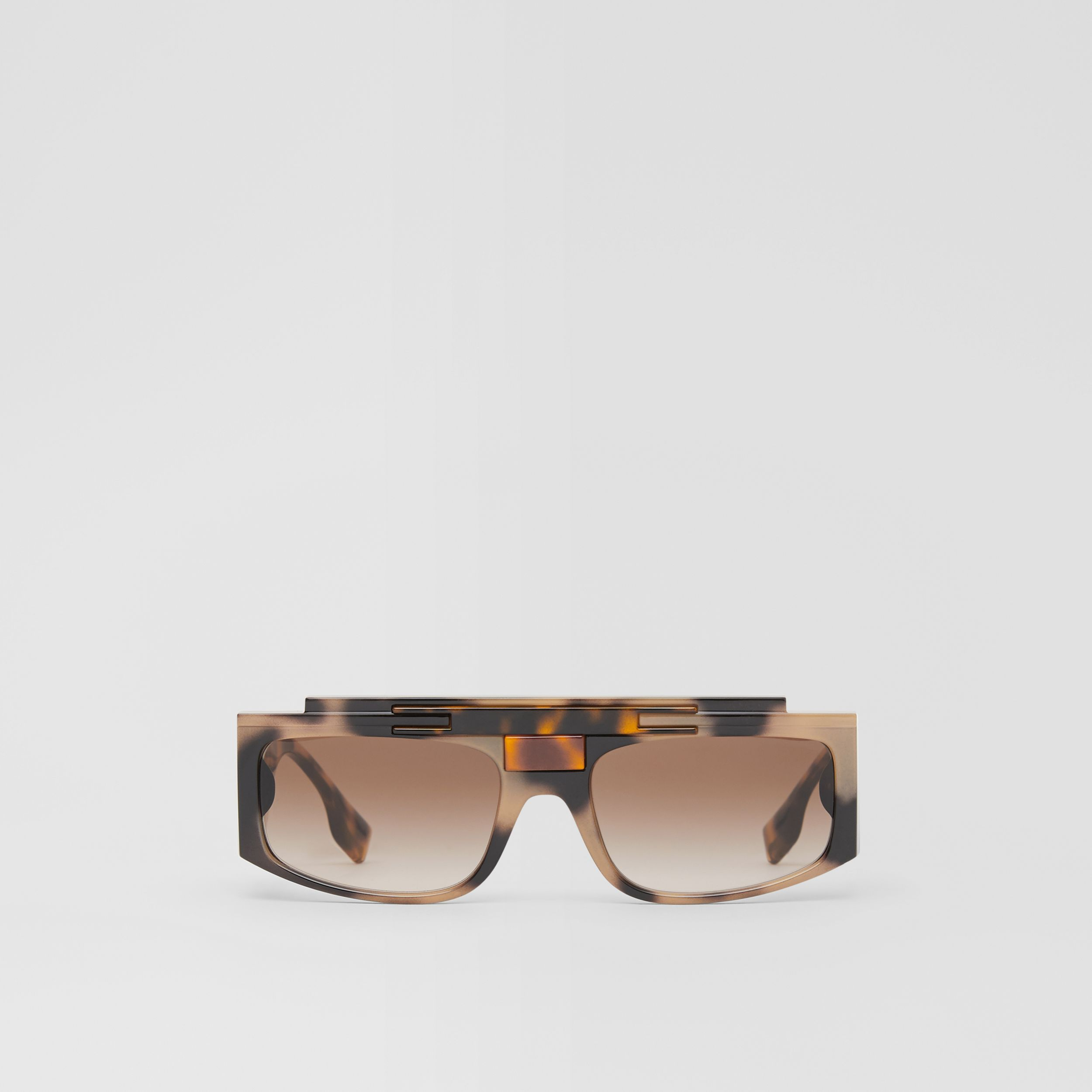 Rectangular Frame Sunglasses in Tortoiseshell - Women | Burberry United States - 1