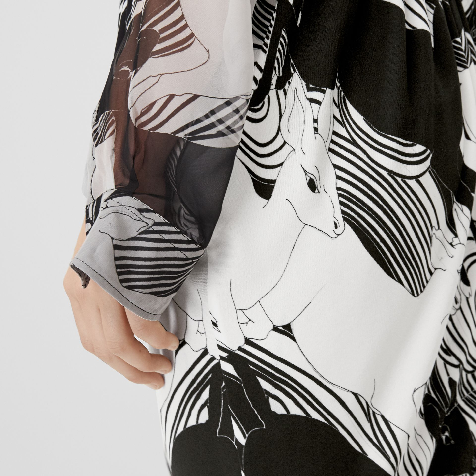 Deer Print Gathered Jersey Sculptural Skirt in Monochrome - Women | Burberry - gallery image 1