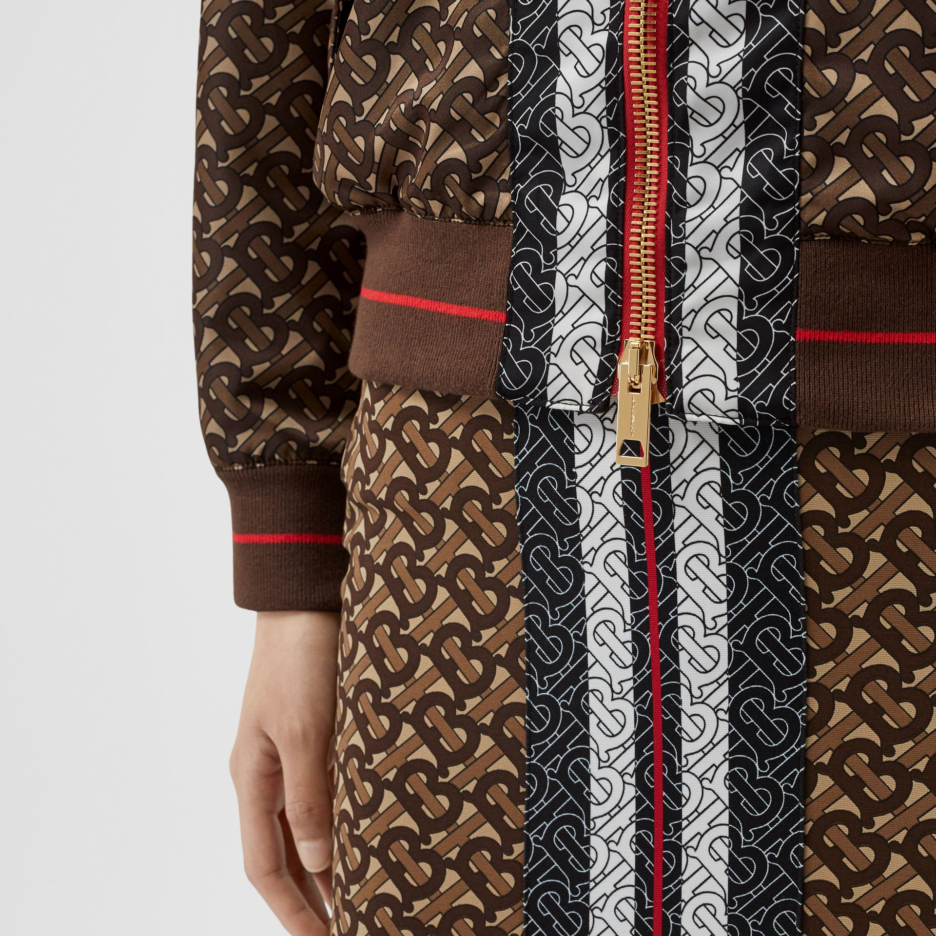 Monogram Stripe Print Nylon Bomber Jacket in Bridle Brown - Women | Burberry - gallery image 4