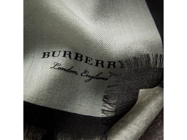 Pallas Helmet Motif Cashmere Scarf in Grey - Men | Burberry United Kingdom - cell image 1