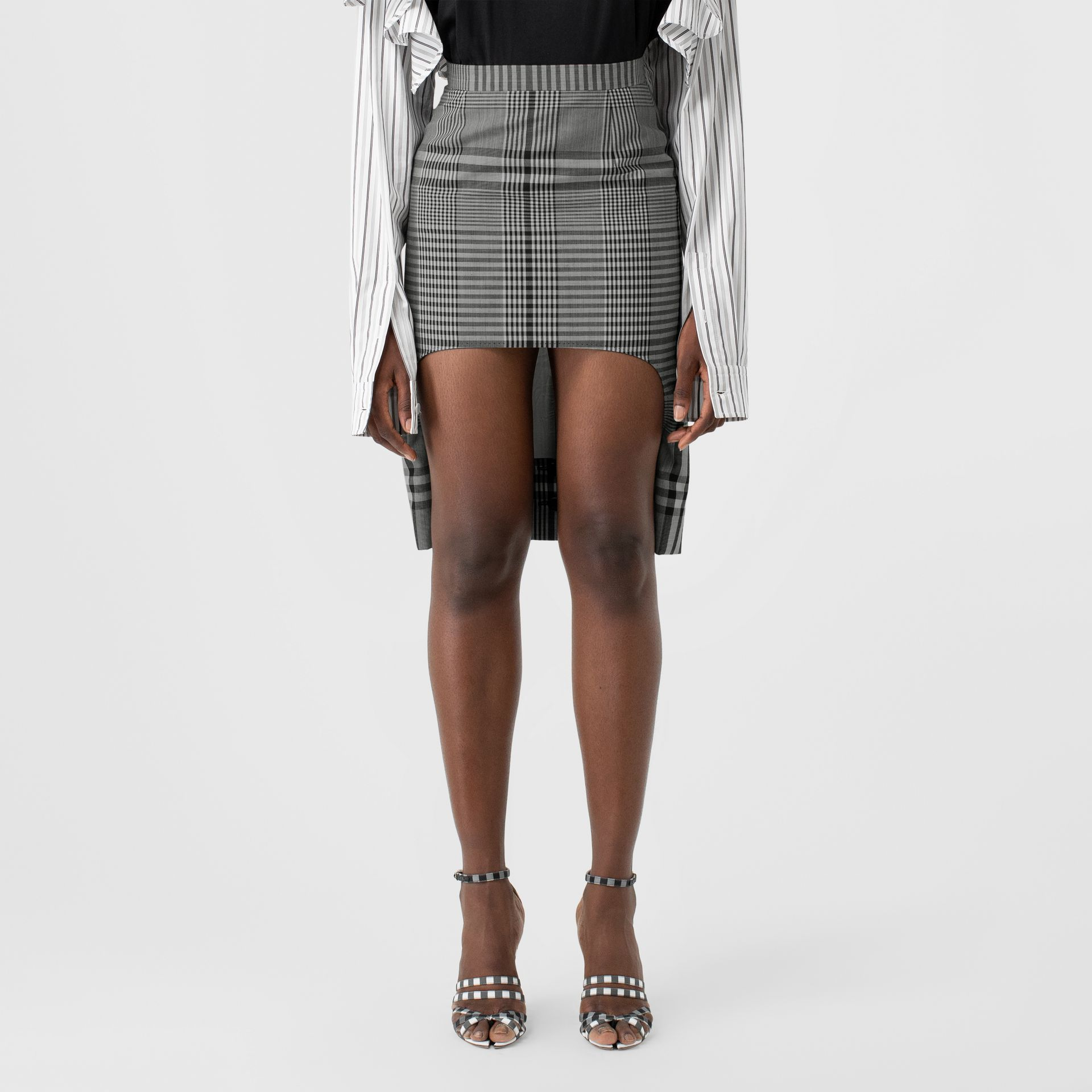 Check Technical Wool Step-through Skirt in Black - Women | Burberry - gallery image 4