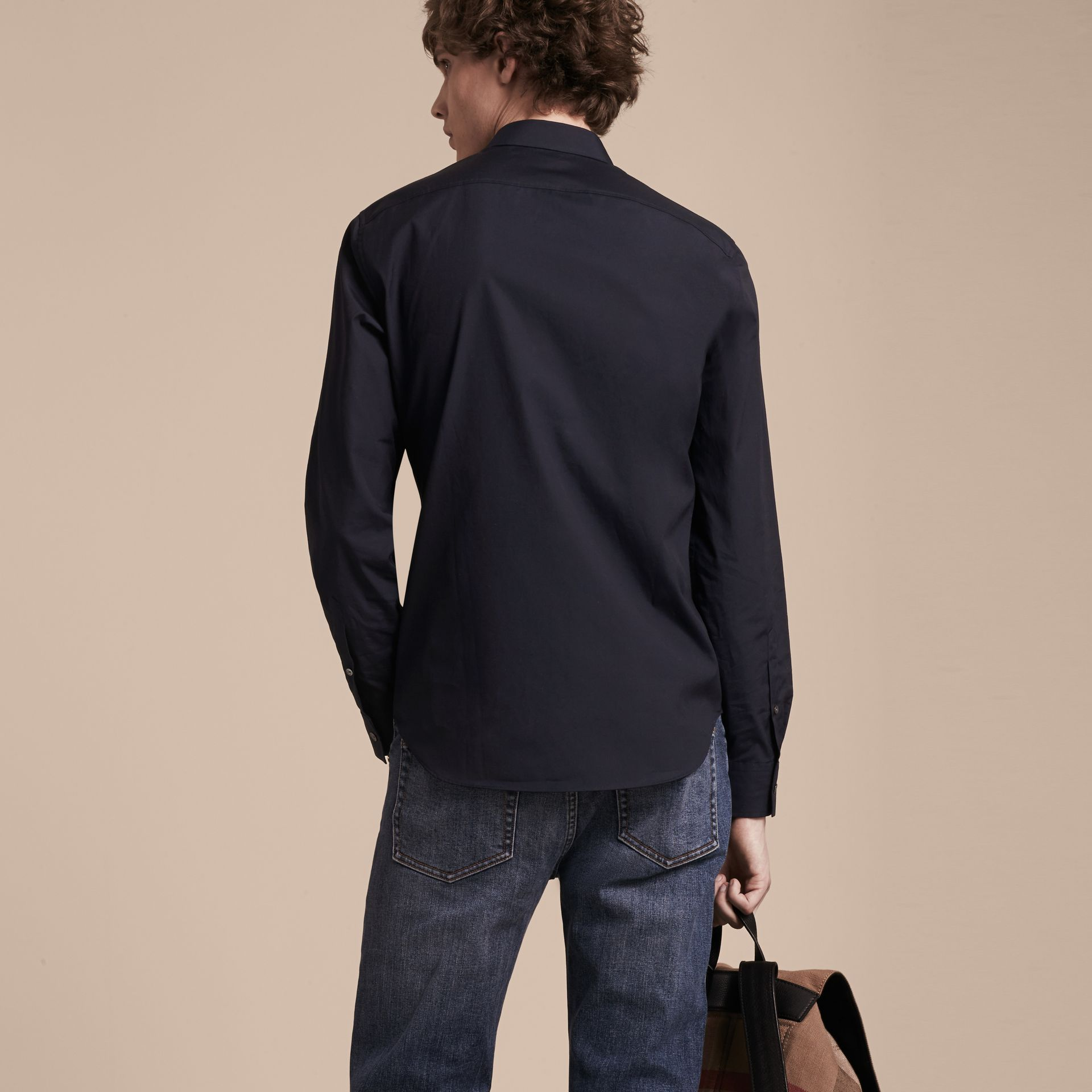 Navy Check Detail Stretch Cotton Shirt Navy - gallery image 3